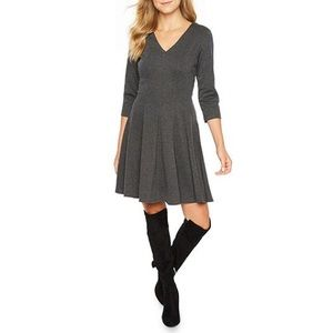 NWT Dark Gray Fit Flare Dress Danny and Nicole New